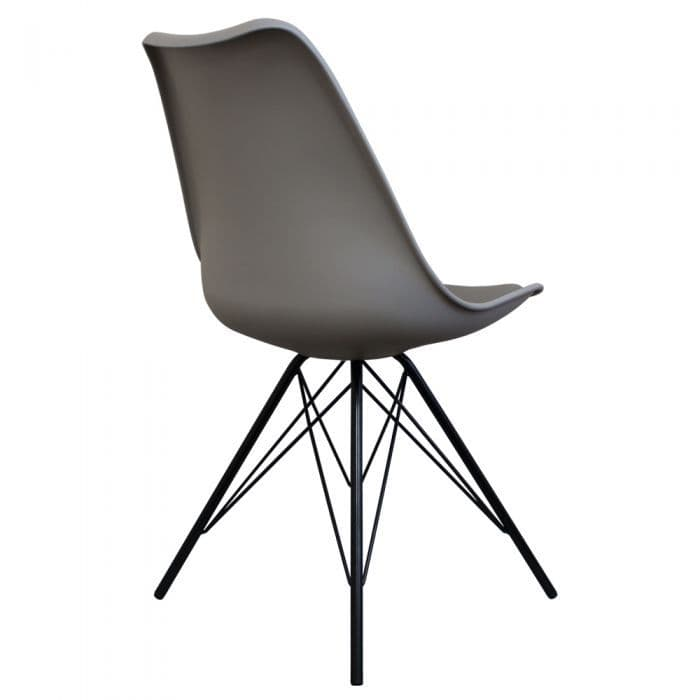 Eames Inspired I-DSR Side Chair Black Metal Legs - Cool Grey